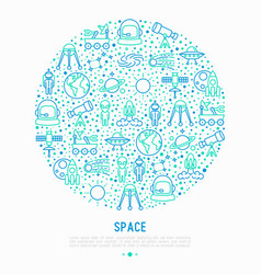 Space concept in circle with thin line icons vector