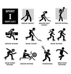 sport games alphabet i icons pictograph indoor vector image