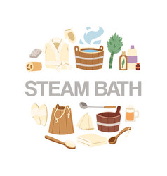steam bath accessories circle poster vector image