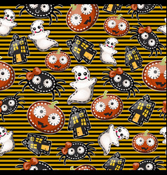 texture of cute characters halloween holiday vector image