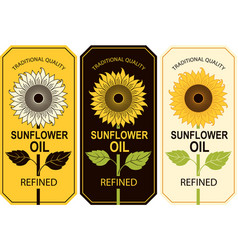 three labels for sunflower oil with a big flower vector image