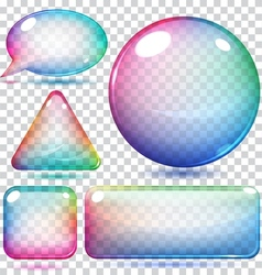 Transparent multicolor glass shapes vector