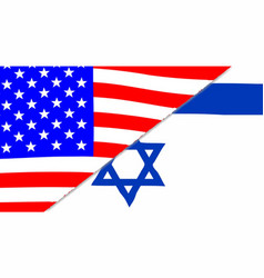 usa and jewish flags vector image