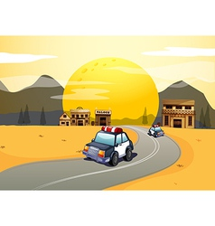 vehicles in road vector image