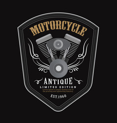 vintage motorcycle engine logo shield emblem vector image