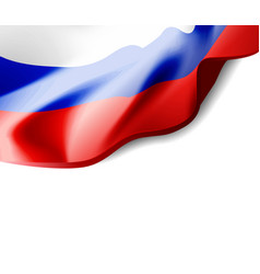 waving flag of russia close-up with shadow vector image