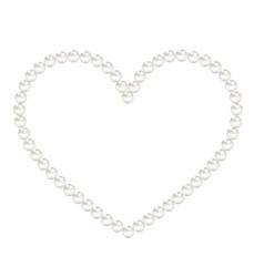 White pearls heart frame vector