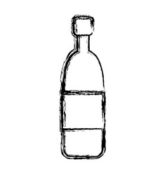 wine glass bottle drink alcohol cork sketch vector image