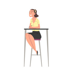young woman sitting on high chair at desk smiling vector image