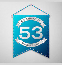 blue pennant with inscription fifty three years vector image vector image