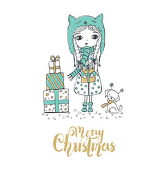 christmas of a little girl and a cute dog merry vector image vector image