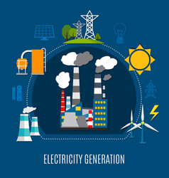 electricity generation flat composition vector image vector image