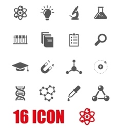 grey science icon set vector image