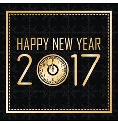 happy new year 2017 greeting card gold clock frame vector image vector image
