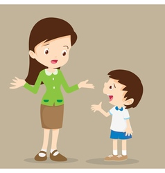 teacher talking with student vector image vector image