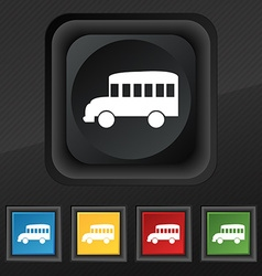 Bus icon symbol Set of five colorful stylish vector image vector image