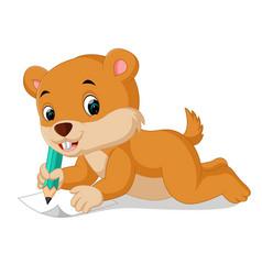 cartoon chipmunk holding pencil vector image vector image