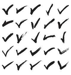 Collection of hand painted check marks vector image