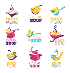 cook soup collection of bowl full of tasty soup vector image