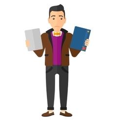 Man choosing between book and tablet computer vector image vector image