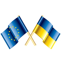 object eu ukraine flags vector image vector image