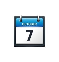 October 7 Calendar icon flat vector image