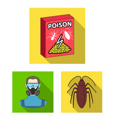 Pest poison personnel and equipment flat icons vector