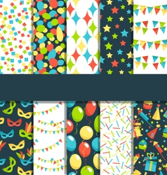 Set of 10 seamless bright celebration festive vector image