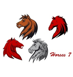 Horse stallions cartoon characters vector image vector image