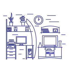 linear interior design vector image