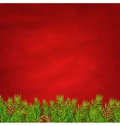 Retro Red Background And Fir Tree vector image vector image