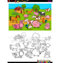 farm animals characters group coloring book vector image
