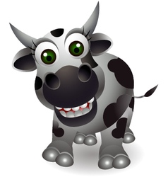 funny cow cartoon vector image vector image