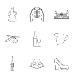 Holiday in Spain icons set outline style vector image vector image
