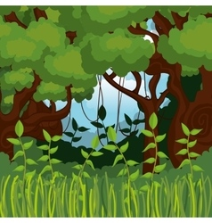 jungle landscape background isolated icon design vector image