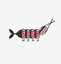sushi menu logo vector image vector image