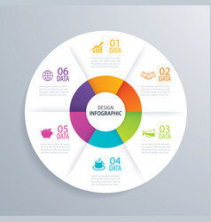 6 business circle infographic background template vector image