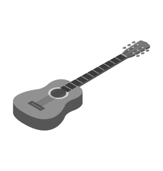 Acoustic guitar icon in monochrome style isolated vector image