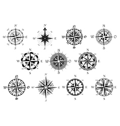 Antique compasses symbols set vector image