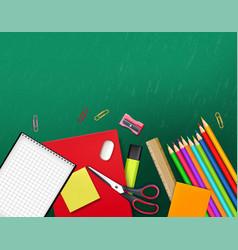 Back to school supplies realistic crayons vector