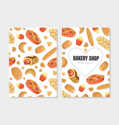 Bakery shop premium quality card template with vector