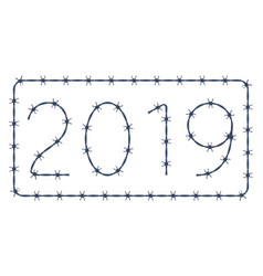 Barbed wire 2019 lettering vector