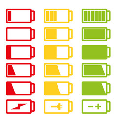 Battery flat icon set isolated on vector