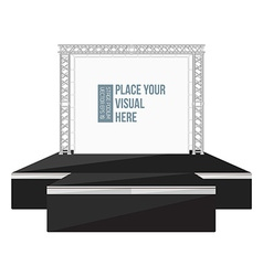 black color flat style high podium stage with vector image