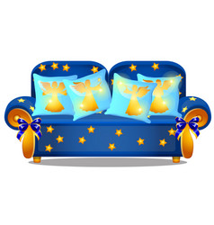 blue sofa with gold armrests and an ornament in vector image
