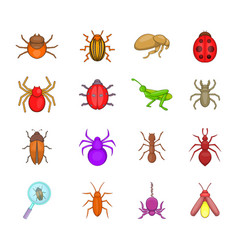 bugs icon set cartoon style vector image