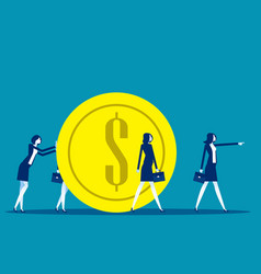 business family pulling large coin business vector image