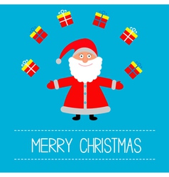 Cartoon Santa Claus and gifts Merry Christmas card vector