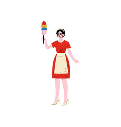 cheerful maid standing with dust brush hotel vector image