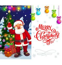 christmas holiday santa with xmas tree and gifts vector image